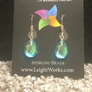 Leightworks Drop Sterling Silver Earrings Green